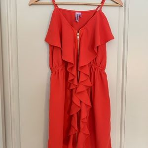 Coral Ruffle Mini Dress